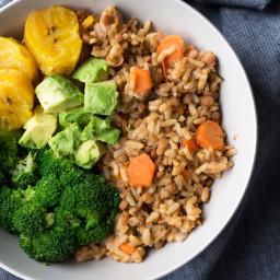 Vegan slow cooker lentil rice bowl with plantains