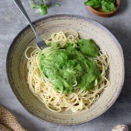 Vegan spinach pasta sauce | gluten free recipe