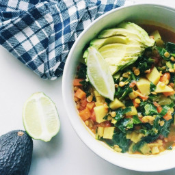 vegan sweet potato, lentil + collard greens stew