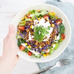 Vegan Taco Salad Bowl with Walnut Meat