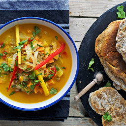 Vegan Thai Coconut Soup with Naan Bread
