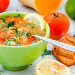 Vegan Vegetable Soup with Cherry Tomatoes and Chickpeas {GF}