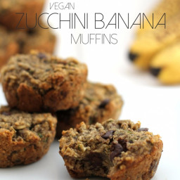 Vegan Zucchini Banana Chocolate Chip Muffins