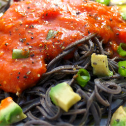 Vegan Black Bean Spaghetti with Paprika Sauce