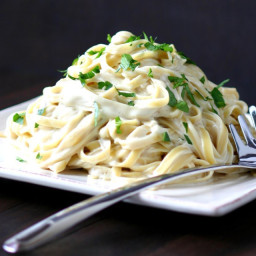 Vegan Fettucine Alfredo by Lands and Flavors