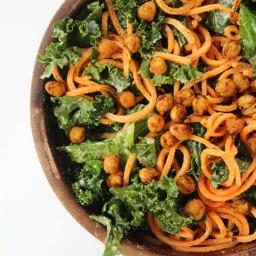 Vegan Kale and Sweet Potato Noodle Caesar Salad with Crispy Spiced Chickpea
