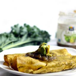 Vegan Lentil, Kale  and  Salsa Verde Enchiladas