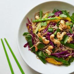 Vegetable and soba noodle salad with honey ginger cashews