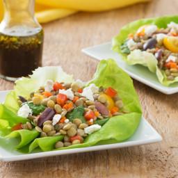 Vegetable Balsamic Lentil Salad in a Butter Lettuce Cup