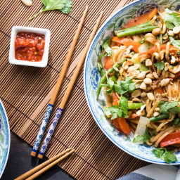 Vegetable Pad Thai with Toasted Peanuts and Lime