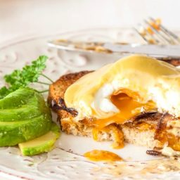 Vegetarian Eggs Benedict with Avocado Hollandaise and Mushroom bacon