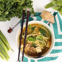 Vegetarian Lemongrass Green Coconut Curry Soup with Zucchini Noodles