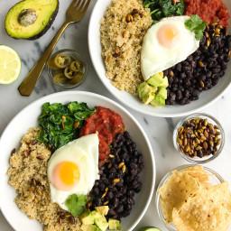 Vegetarian Taco Breakfast Bowls with Coconut Quinoa