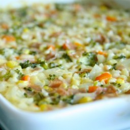 Veggie, Ham & Cheese Rice Bake