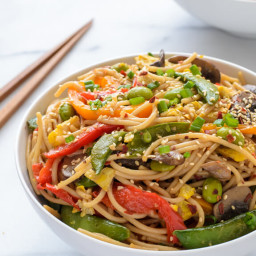 Veggie Lo Mein with Soy Ginger Sauce