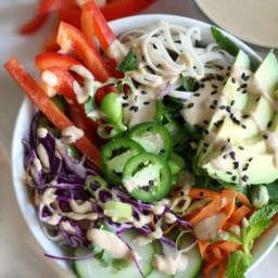 Veggie Noodle Bowls with Cashew Ginger Dressing