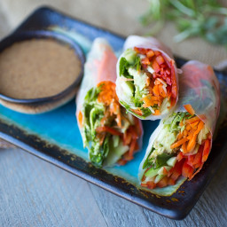 Veggie Spring Rolls with Peanut and Soy Free Dipping Sauce