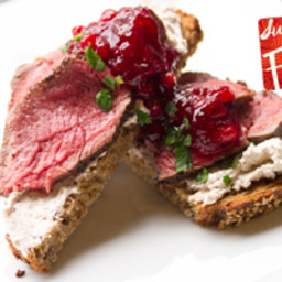 Venison on Grilled Bread with Hazelnut Crème Fraiche and Lingonberry Jam