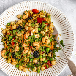 Vibrant Curry Cashew Chickpea Quinoa Salad