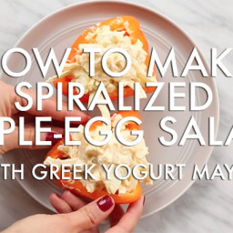 Video: Easy Spiralized Apple Egg Salad in Bell Pepper Cups