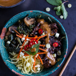 Vietnamese Lemongrass Beef and Spaghetti Squash Noodle Bowls with Peanut Sa