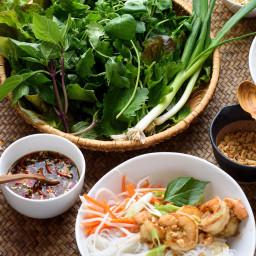 Vietnamese Rice Noodles With Lemongrass Shrimp