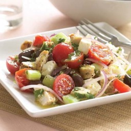 Village-Style Greek Salad with Chicken and Lemon-Mint Vinaigrette