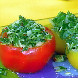 Vine Ripe Tomatoes Stuffed with Herb and Almond Gremolata