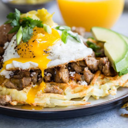 Waffle Iron Hash Browns with Sausage and Egg