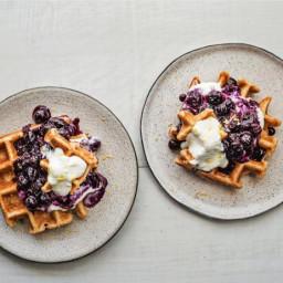 Waffles withBlueberry Compoteand Lemon Ricotta Cream