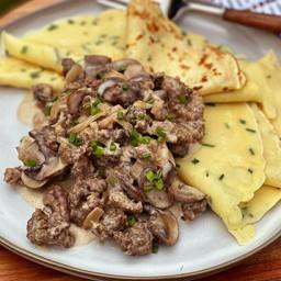 Wagyu Breakfast Sausage, Mushroom, and Chive Crepes