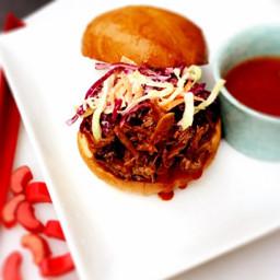 Wagyu Short Ribs Sandwich, Rhubarb BBQ Sauce & Creamy Coleslaw