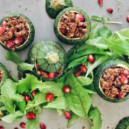 WALNUT AND POMEGRANATE STUFFED ZUCCHINI