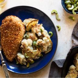Walnut-crusted chicken diavola with lemon-roasted cauliflower