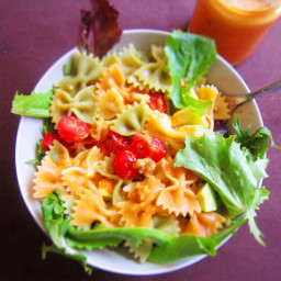 Walnut Pasta Salad with Bell Pepper Dressing