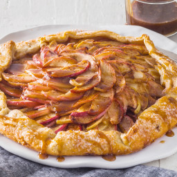 Warm Apple Galette with Spiced Toffee Drizzle