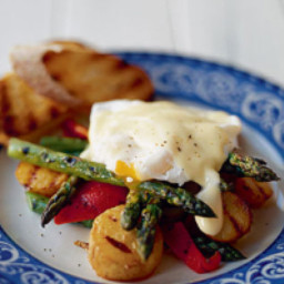 Warm Asparagus Salad Topped with a Poached Egg
