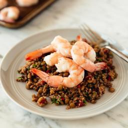 Warm Bulgur and Lentil Salad with Roasted Shrimp