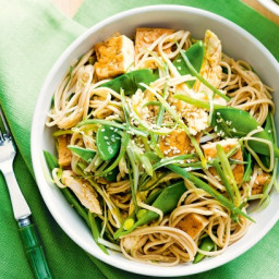 Warm chicken and soba noodle salad