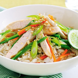 Warm chicken salad with coconut rice