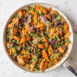 Warm Cumin Roasted Carrot, Red Onion and Lentil Salad