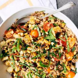Warm Farro Salad with Charred Corn