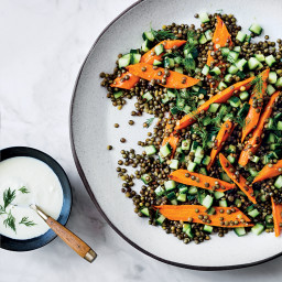 Warm Lentil and Carrot Salad with Feta Dressing