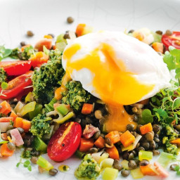 Warm lentil salad with poached egg and pesto