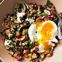 Warm Lentil Salad with Poached Eggs