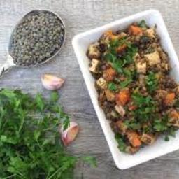 Warm Lentil Salad with Smoked Tofu