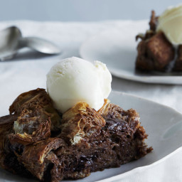 Warm Milk-Chocolate Croissant-Bread Pudding