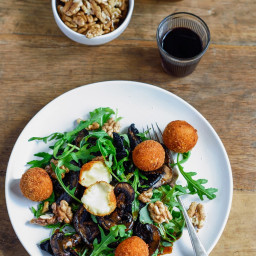 Warm Mushroom Salad with Parmesan Cheese Balls and Walnuts