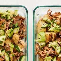 Warm Potato and Shredded Pork Salad