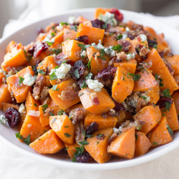 Warm Roasted Sweet Potato Salad with Apple-Smoked Bacon, Blue Cheese, Dried
